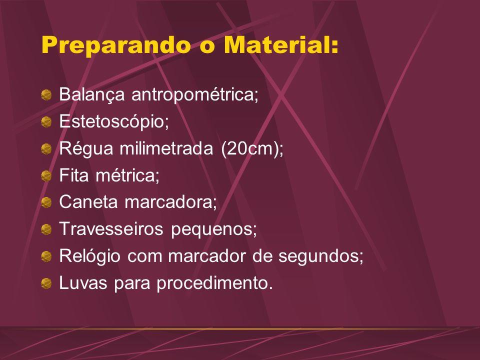 Preparando o Material: Balança antropométrica; Estetoscópio; Régua milimetrada (20cm); Fita métrica; Caneta marcadora; Travesseiros pequenos; Relógio