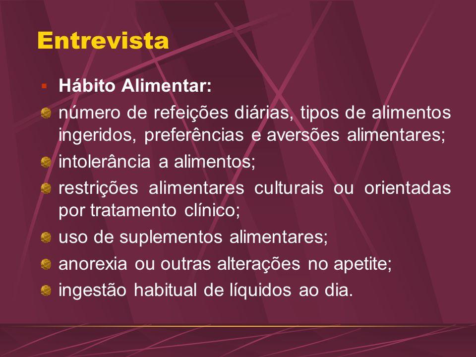 Entrevista Hábito Alimentar: número de refeições diárias, tipos de alimentos ingeridos, preferências e aversões alimentares; intolerância a alimentos;