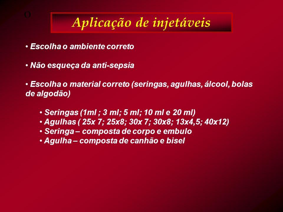 O Aplicação de injetáveis Escolha o ambiente correto Não esqueça da anti-sepsia Escolha o material correto (seringas, agulhas, álcool, bolas de algodão) Seringas (1ml ; 3 ml; 5 ml; 10 ml e 20 ml) Agulhas ( 25x 7; 25x8; 30x 7; 30x8; 13x4,5; 40x12) Seringa – composta de corpo e embulo Agulha – composta de canhão e bisel