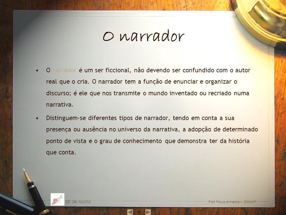 O narrador O narrador é um ser ficcional, não devendo ser confundido com o autor real que o cria. O narrador tem a função de enunciar e organizar o di