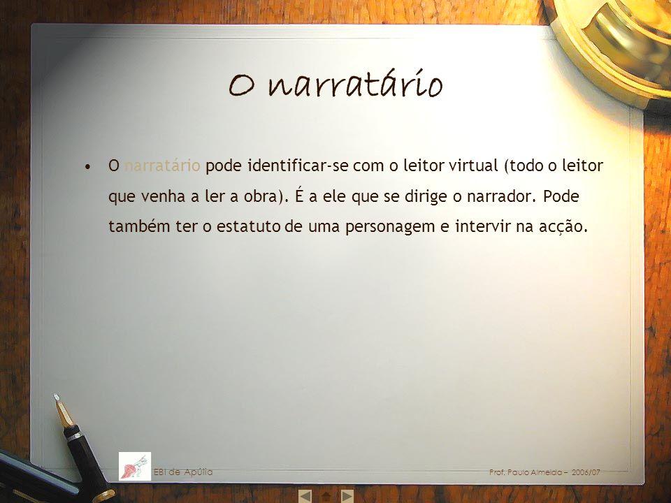 O narratário O narratário pode identificar-se com o leitor virtual (todo o leitor que venha a ler a obra). É a ele que se dirige o narrador. Pode tamb