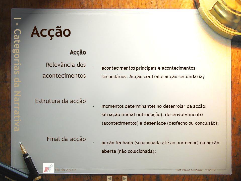 I - Categorias da Narrativa -acontecimentos principais e acontecimentos secundários; Acção central e acção secundária; -momentos determinantes no dese