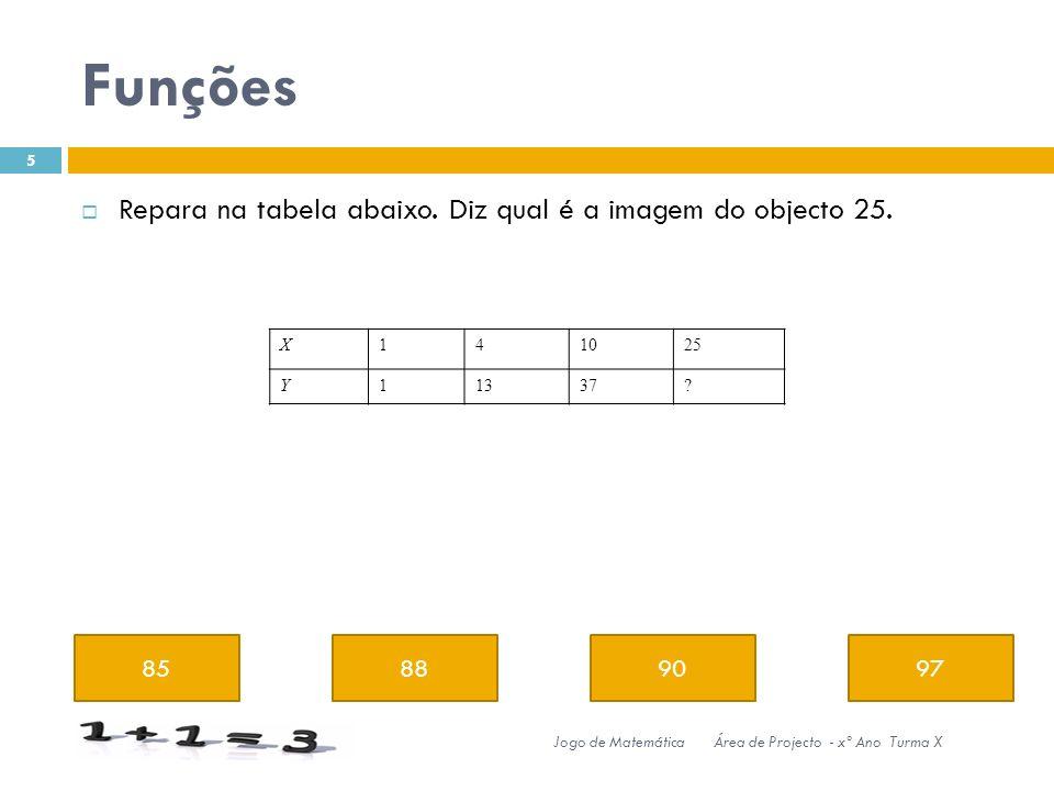 Funções 85889097 5 Jogo de MatemáticaÁrea de Projecto - xº Ano Turma X Repara na tabela abaixo.