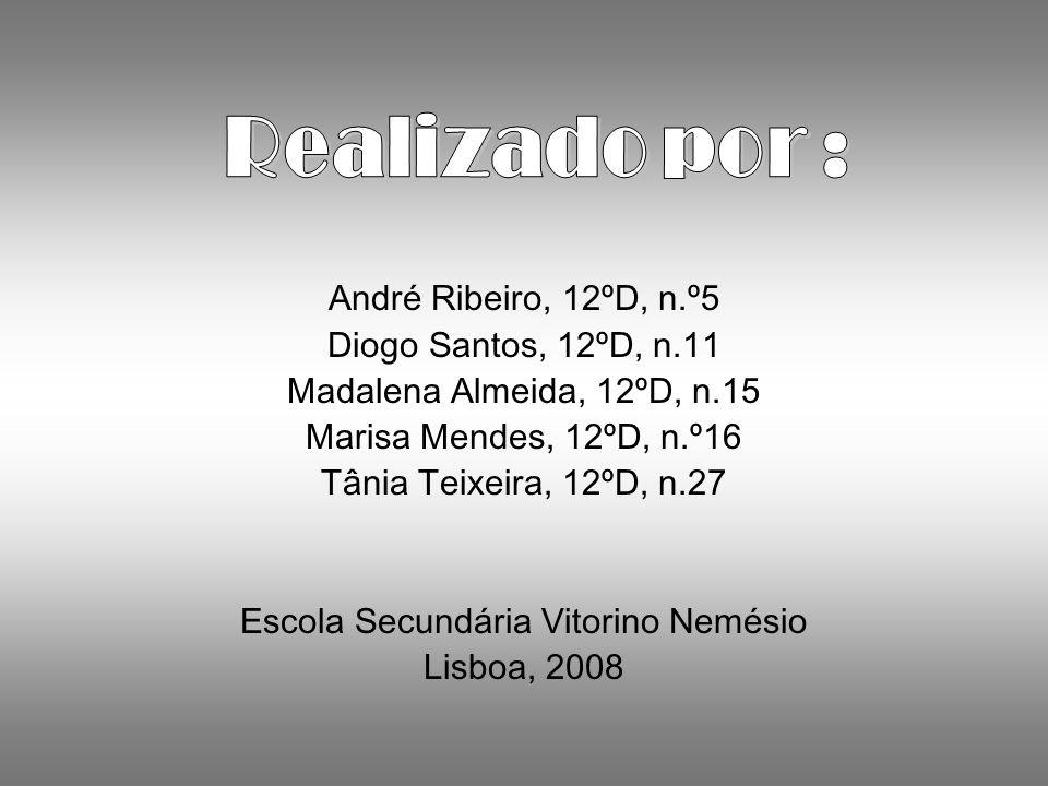 André Ribeiro, 12ºD, n.º5 Diogo Santos, 12ºD, n.11 Madalena Almeida, 12ºD, n.15 Marisa Mendes, 12ºD, n.º16 Tânia Teixeira, 12ºD, n.27 Escola Secundária Vitorino Nemésio Lisboa, 2008