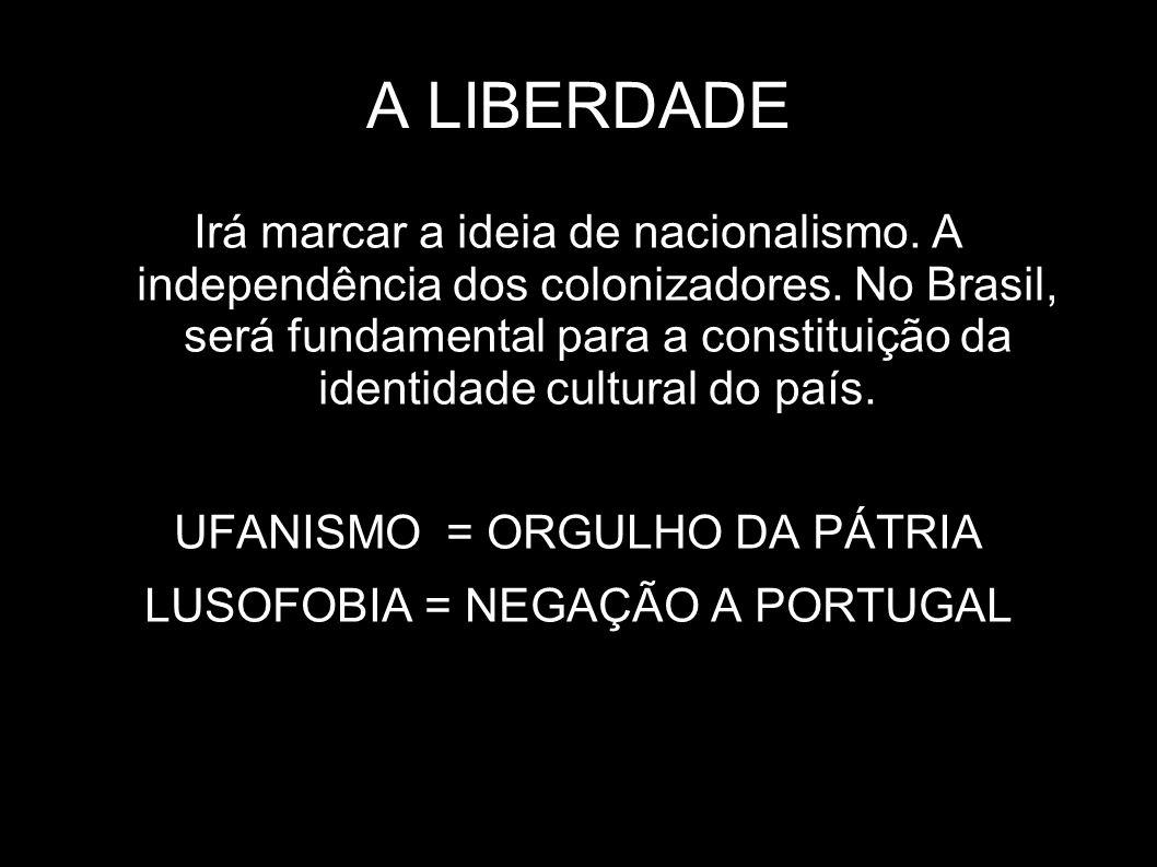 A LIBERDADE Irá marcar a ideia de nacionalismo. A independência dos colonizadores. No Brasil, será fundamental para a constituição da identidade cultu