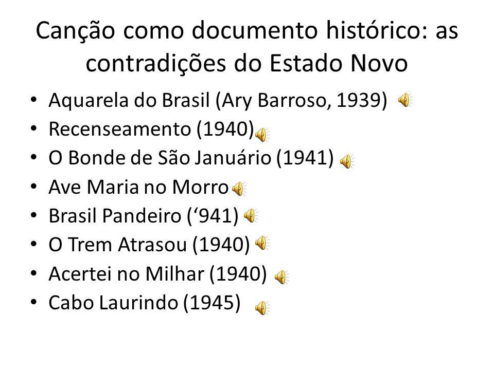 Canção como documento histórico: as contradições do Estado Novo Aquarela do Brasil (Ary Barroso, 1939) Recenseamento (1940) O Bonde de São Januário (1941) Ave Maria no Morro Brasil Pandeiro (941) O Trem Atrasou (1940) Acertei no Milhar (1940) Cabo Laurindo (1945)