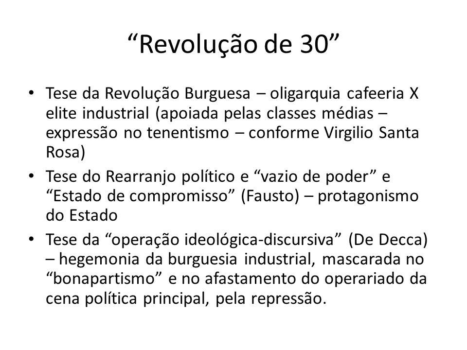 Revolução de 30 Tese da Revolução Burguesa – oligarquia cafeeria X elite industrial (apoiada pelas classes médias – expressão no tenentismo – conforme