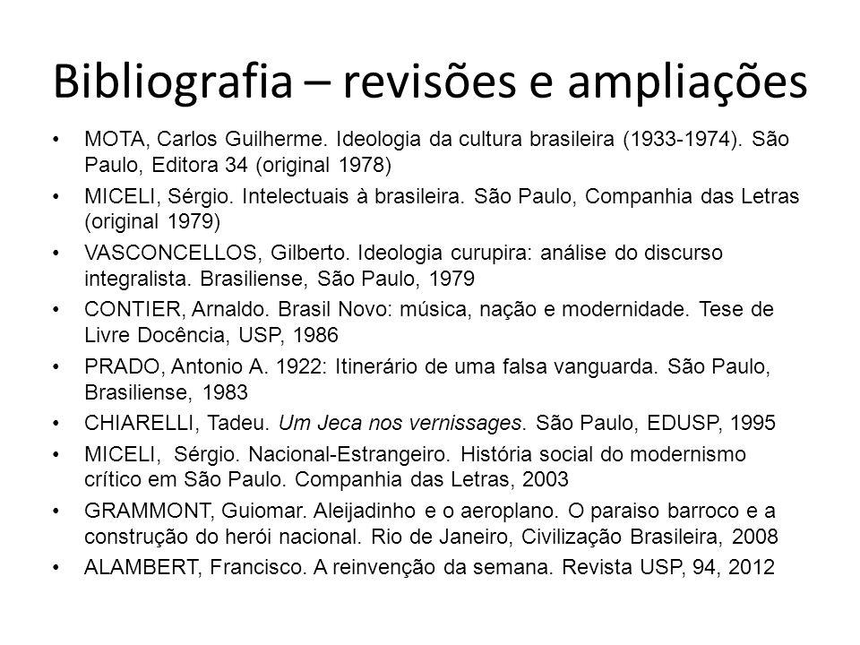 Bibliografia – revisões e ampliações MOTA, Carlos Guilherme. Ideologia da cultura brasileira (1933-1974). São Paulo, Editora 34 (original 1978) MICELI