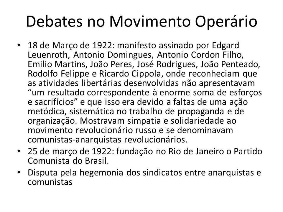 Debates no Movimento Operário 18 de Março de 1922: manifesto assinado por Edgard Leuenroth, Antonio Domingues, Antonio Cordon Filho, Emilio Martins, J