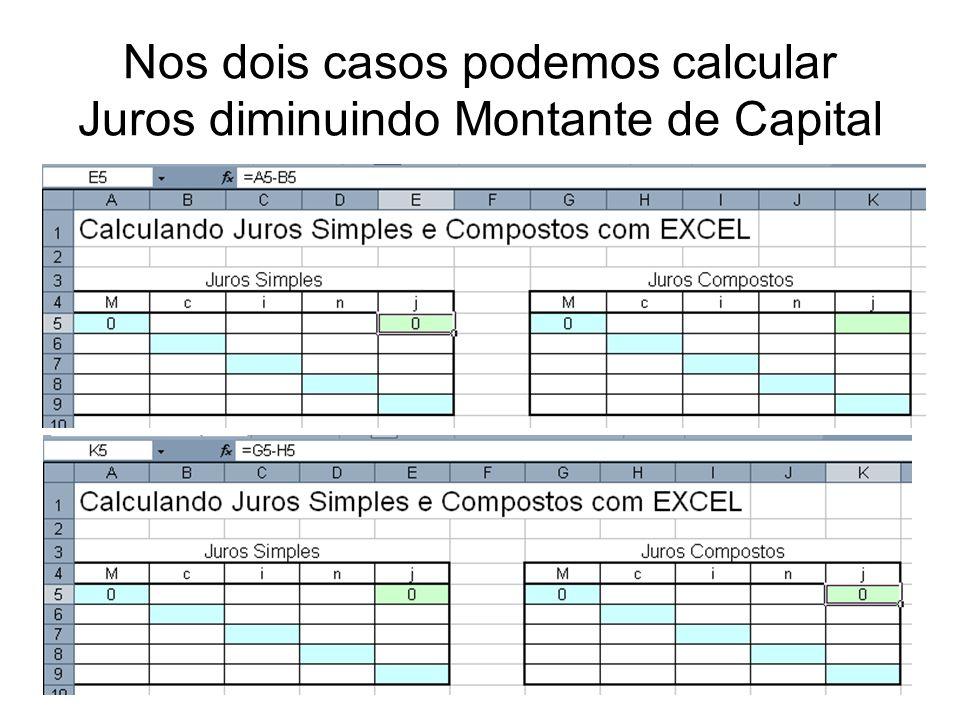 Nos dois casos podemos calcular Juros diminuindo Montante de Capital