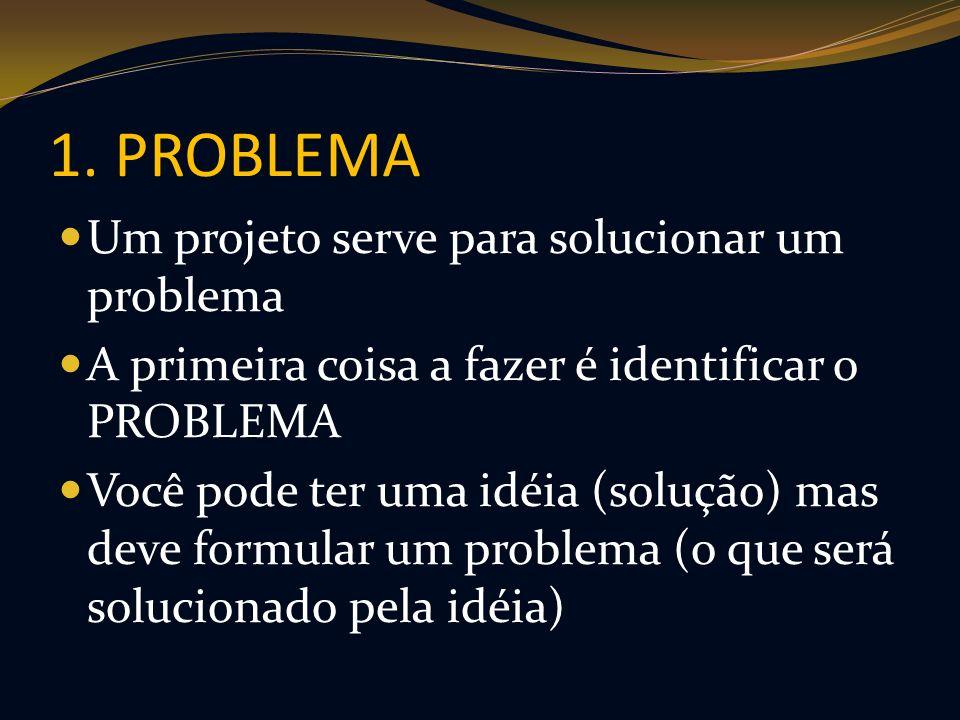 1. PROBLEMA Um projeto serve para solucionar um problema A primeira coisa a fazer é identificar o PROBLEMA Você pode ter uma idéia (solução) mas deve