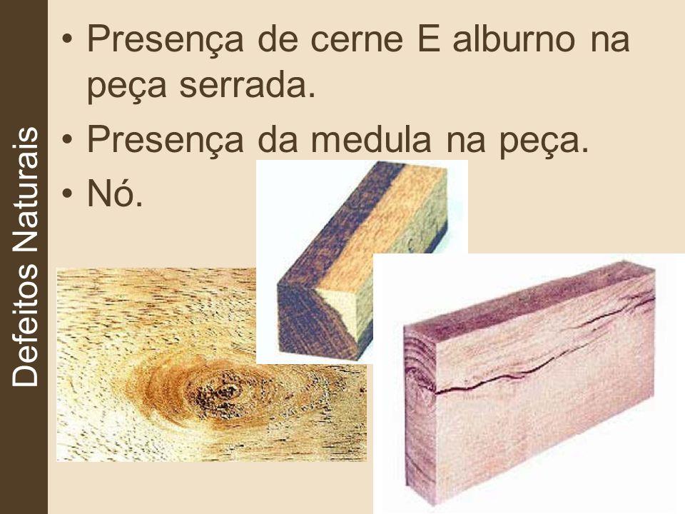 Defeitos Naturais Presença de cerne E alburno na peça serrada. Presença da medula na peça. Nó.