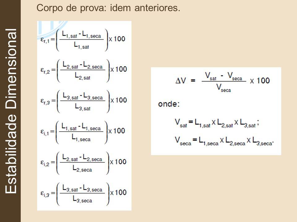 Estabilidade Dimensional Corpo de prova: idem anteriores.