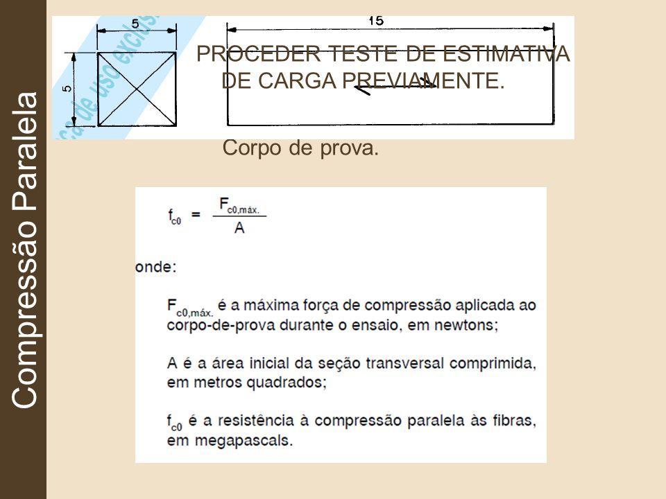 Compressão Paralela Corpo de prova. PROCEDER TESTE DE ESTIMATIVA DE CARGA PREVIAMENTE.