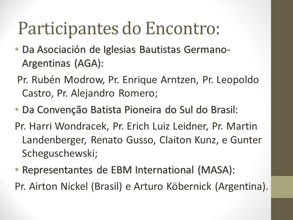 Participantes do Encontro: Da Asociación de Iglesias Bautistas Germano- Argentinas (AGA): Da Asociación de Iglesias Bautistas Germano- Argentinas (AGA