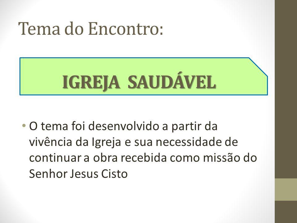 Tema do Encontro: O tema foi desenvolvido a partir da vivência da Igreja e sua necessidade de continuar a obra recebida como missão do Senhor Jesus Ci