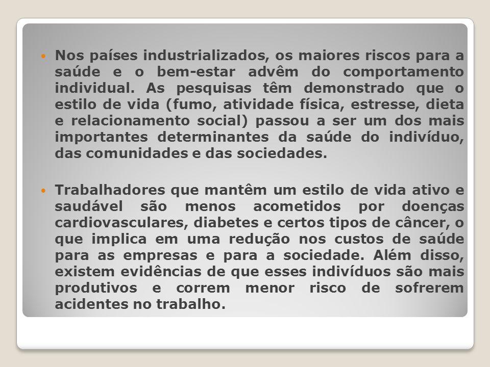 Nos países industrializados, os maiores riscos para a saúde e o bem-estar advêm do comportamento individual.