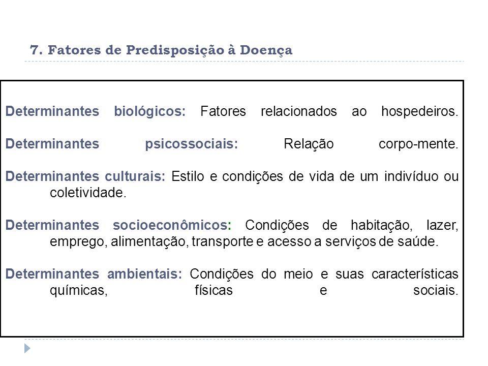 7. Fatores de Predisposição à Doença Determinantes biológicos: Fatores relacionados ao hospedeiros. Determinantes psicossociais: Relação corpo-mente.