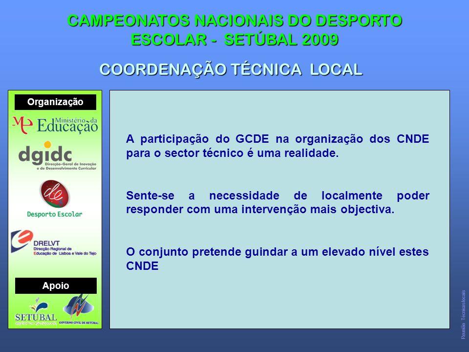 CAMPEONATOS NACIONAIS DO DESPORTO ESCOLAR - SETÚBAL 2009 Organização Apoio Reunião Técnicos locais A participação do GCDE na organização dos CNDE para o sector técnico é uma realidade.