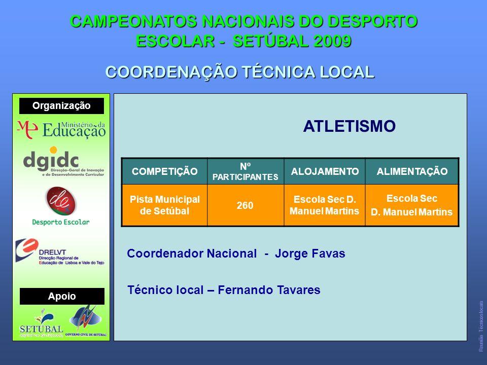 ATLETISMO CAMPEONATOS NACIONAIS DO DESPORTO ESCOLAR - SETÚBAL 2009 COORDENAÇÃO TÉCNICA LOCAL COMPETIÇÃO Nº PARTICIPANTES ALOJAMENTOALIMENTAÇÃO Pista Municipal de Setúbal 260 Escola Sec D.