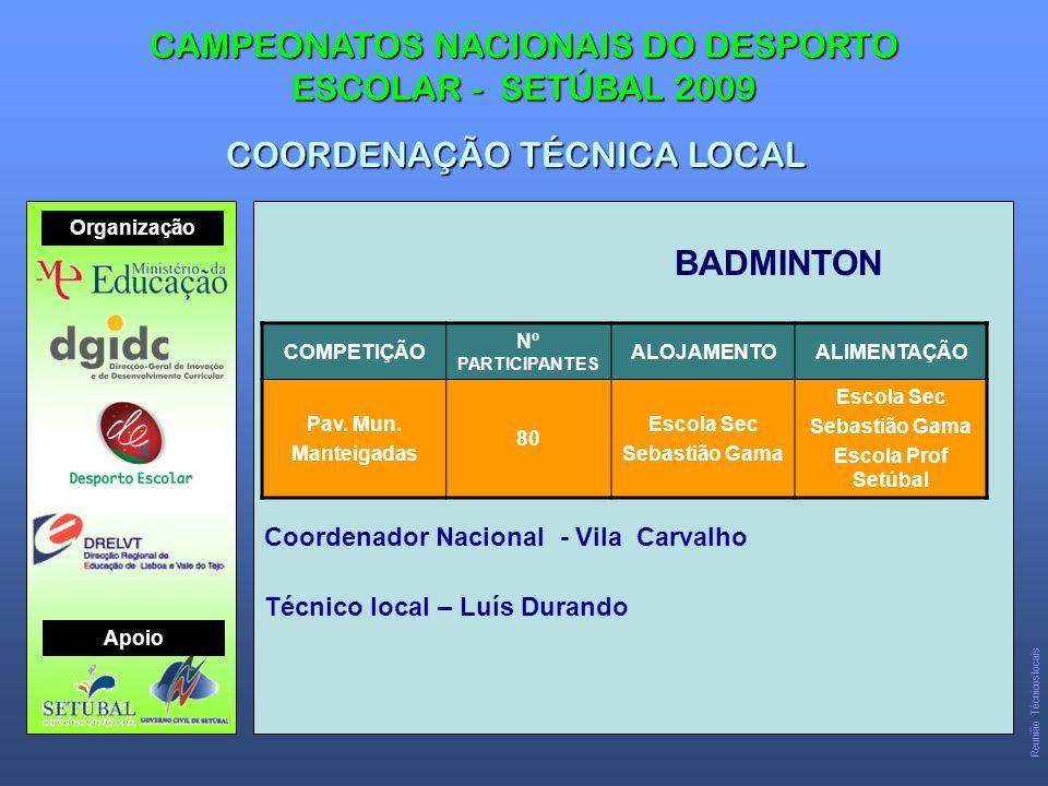 BADMINTON CAMPEONATOS NACIONAIS DO DESPORTO ESCOLAR - SETÚBAL 2009 COORDENAÇÃO TÉCNICA LOCAL COMPETIÇÃO Nº PARTICIPANTES ALOJAMENTOALIMENTAÇÃO Pav.