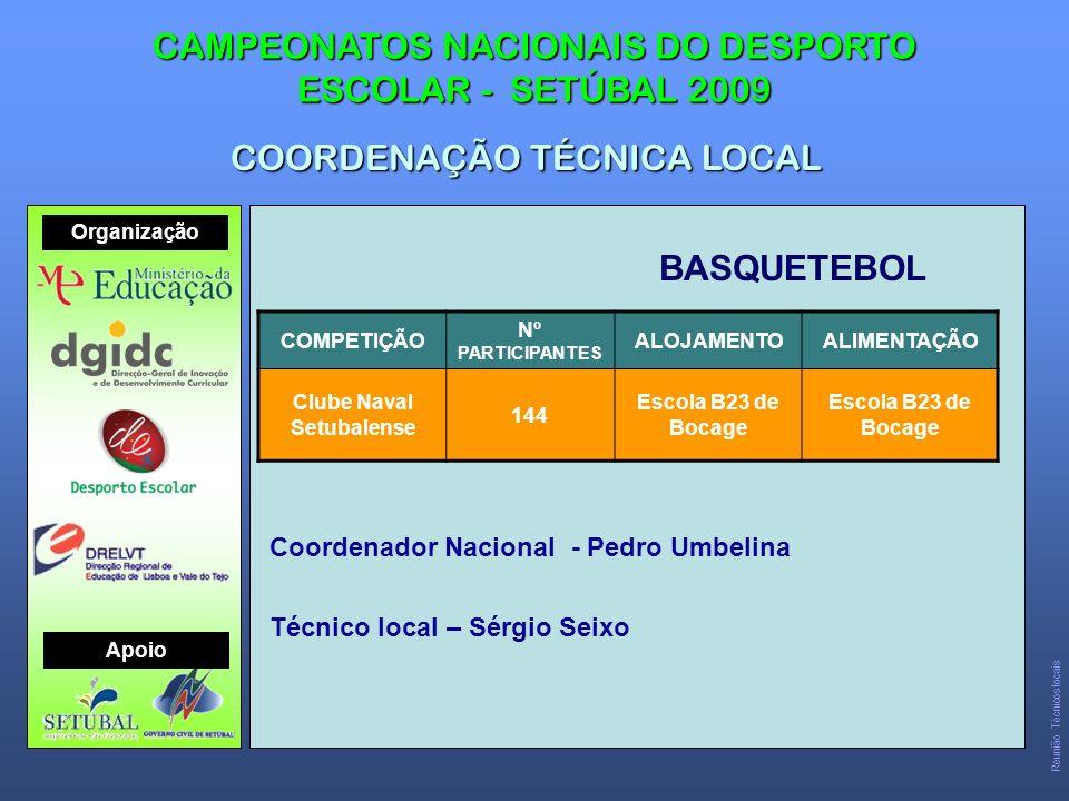 BASQUETEBOL CAMPEONATOS NACIONAIS DO DESPORTO ESCOLAR - SETÚBAL 2009 COORDENAÇÃO TÉCNICA LOCAL COMPETIÇÃO Nº PARTICIPANTES ALOJAMENTOALIMENTAÇÃO Clube Naval Setubalense 144 Escola B23 de Bocage Coordenador Nacional - Pedro Umbelina Técnico local – Sérgio Seixo Organização Apoio Reunião Técnicos locais