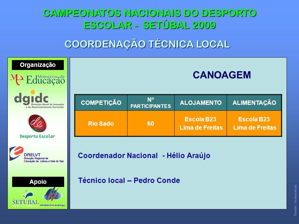 CANOAGEM CAMPEONATOS NACIONAIS DO DESPORTO ESCOLAR - SETÚBAL 2009 COORDENAÇÃO TÉCNICA LOCAL COMPETIÇÃO Nº PARTICIPANTES ALOJAMENTOALIMENTAÇÃO Rio Sado60 Escola B23 Lima de Freitas Escola B23 Lima de Freitas Coordenador Nacional - Hélio Araújo Técnico local – Pedro Conde Reunião Técnicos locais Organização Apoio