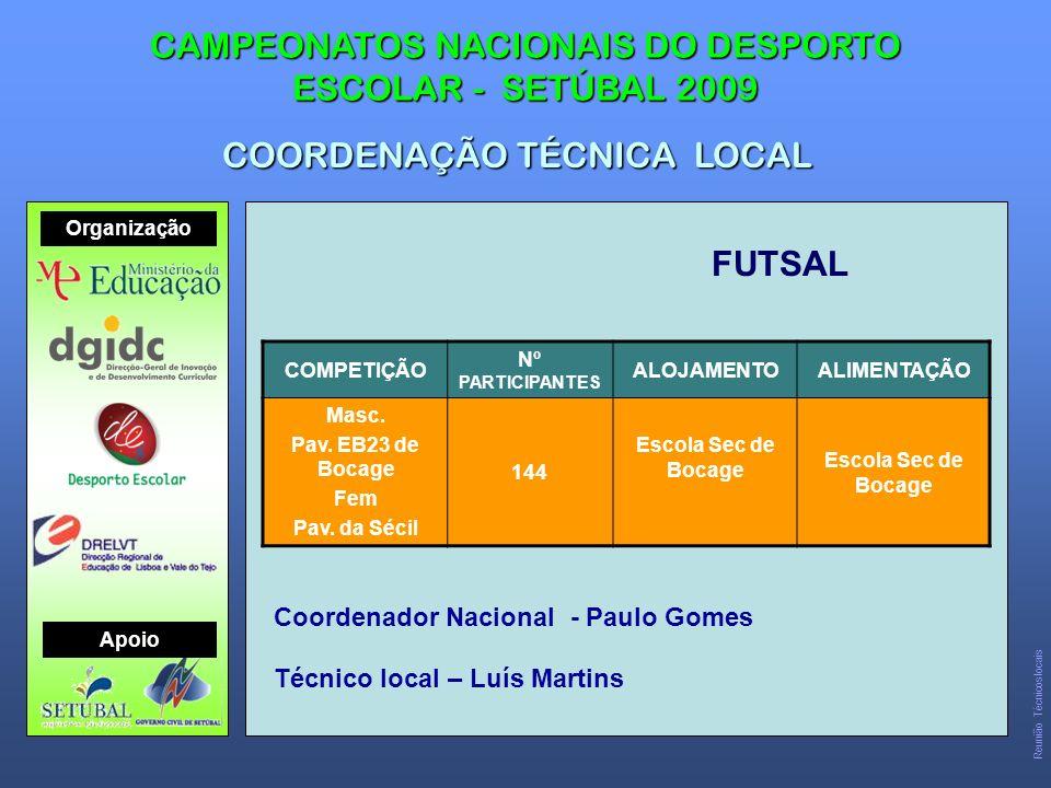 FUTSAL CAMPEONATOS NACIONAIS DO DESPORTO ESCOLAR - SETÚBAL 2009 COORDENAÇÃO TÉCNICA LOCAL COMPETIÇÃO Nº PARTICIPANTES ALOJAMENTOALIMENTAÇÃO Masc.