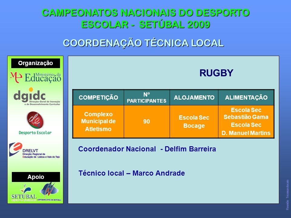 RUGBY CAMPEONATOS NACIONAIS DO DESPORTO ESCOLAR - SETÚBAL 2009 COORDENAÇÃO TÉCNICA LOCAL COMPETIÇÃO Nº PARTICIPANTES ALOJAMENTOALIMENTAÇÃO Complexo Municipal de Atletismo 90 Escola Sec Bocage Escola Sec Sebastião Gama Escola Sec D.