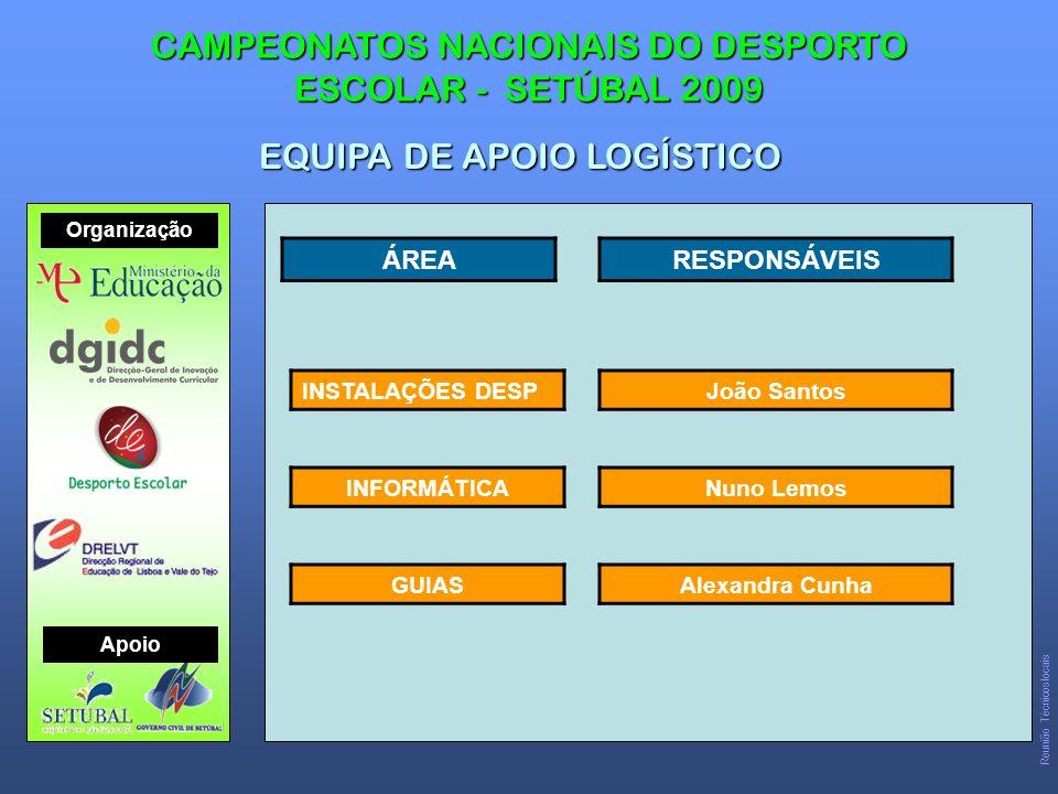 CAMPEONATOS NACIONAIS DO DESPORTO ESCOLAR - SETÚBAL 2009 EQUIPA DE APOIO LOGÍSTICO Organização Apoio Reunião Técnicos locais ÁREARESPONSÁVEIS INSTALAÇÕES DESP INFORMÁTICA GUIAS João Santos Nuno Lemos Alexandra Cunha