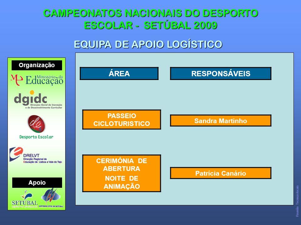 CAMPEONATOS NACIONAIS DO DESPORTO ESCOLAR - SETÚBAL 2009 EQUIPA DE APOIO LOGÍSTICO Organização Apoio Reunião Técnicos locais ÁREARESPONSÁVEIS CERIMÓNIA DE ABERTURA NOITE DE ANIMAÇÃO Patrícia Canário PASSEIO CICLOTURISTICO Sandra Martinho