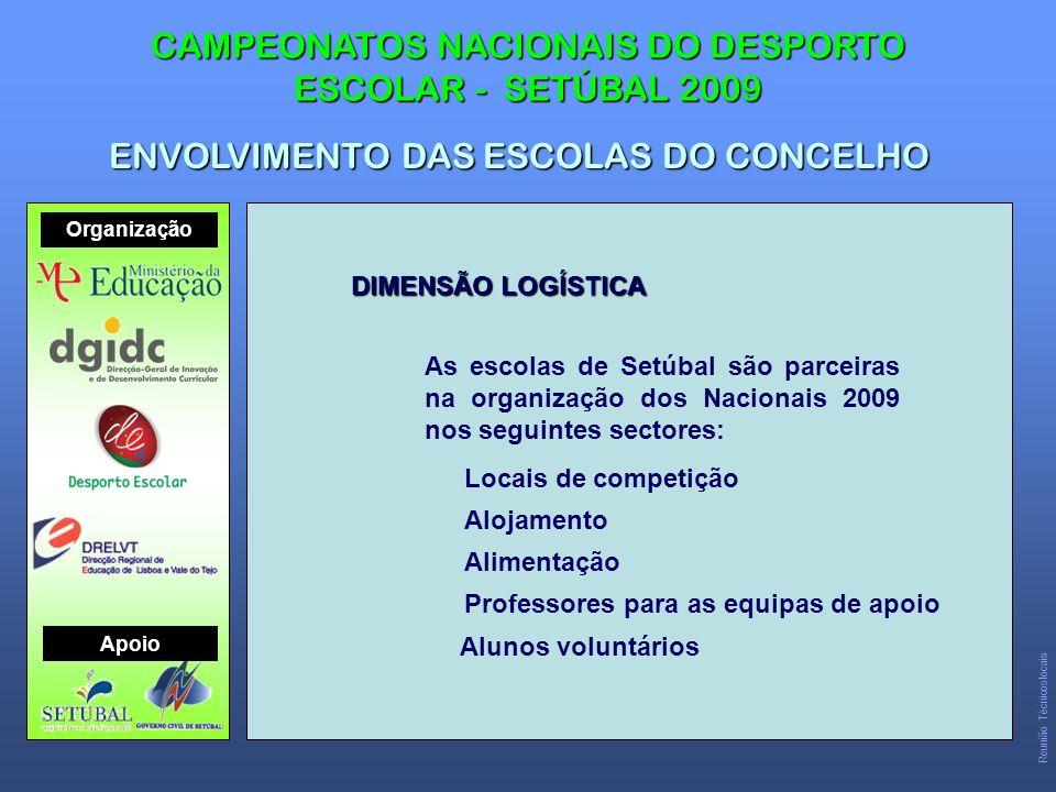 DIMENSÃO LOGÍSTICA As escolas de Setúbal são parceiras na organização dos Nacionais 2009 nos seguintes sectores: Locais de competição Alojamento Alimentação Professores para as equipas de apoio CAMPEONATOS NACIONAIS DO DESPORTO ESCOLAR - SETÚBAL 2009 ENVOLVIMENTO DAS ESCOLAS DO CONCELHO Organização Apoio Reunião Técnicos locais Alunos voluntários