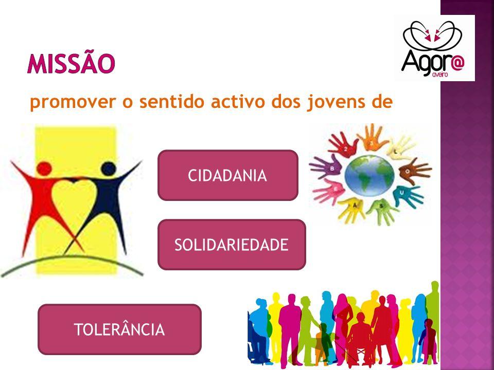 promover o sentido activo dos jovens de CIDADANIA TOLERÂNCIA SOLIDARIEDADE