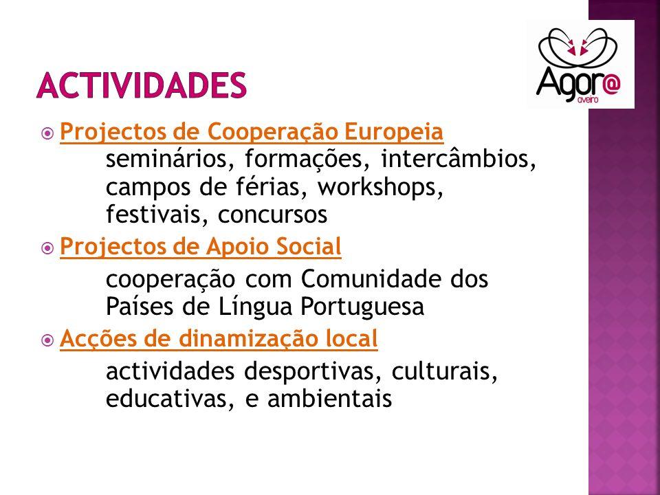 Projectos de Cooperação Europeia seminários, formações, intercâmbios, campos de férias, workshops, festivais, concursos Projectos de Apoio Social cooperação com Comunidade dos Países de Língua Portuguesa Acções de dinamização local actividades desportivas, culturais, educativas, e ambientais
