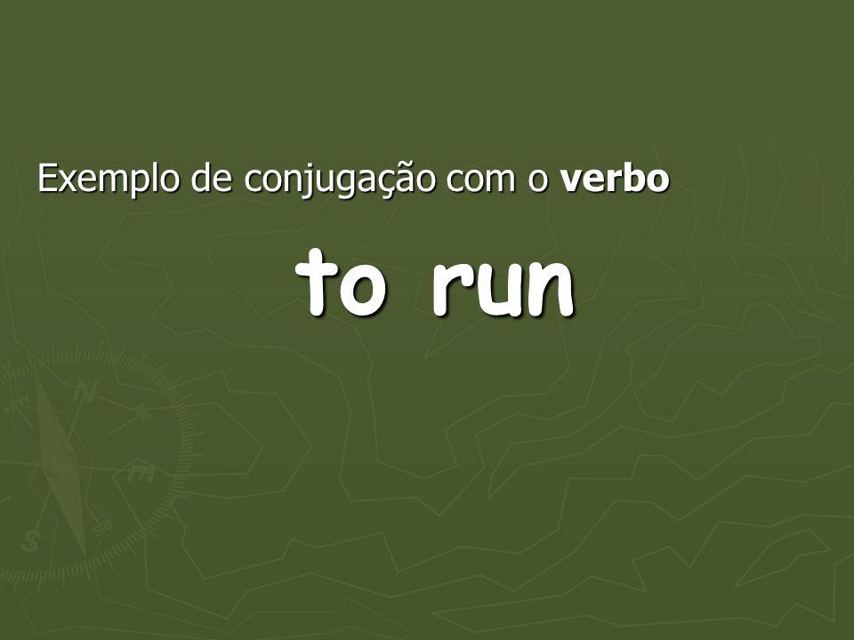 Exemplo de conjugação com o verbo to run to run