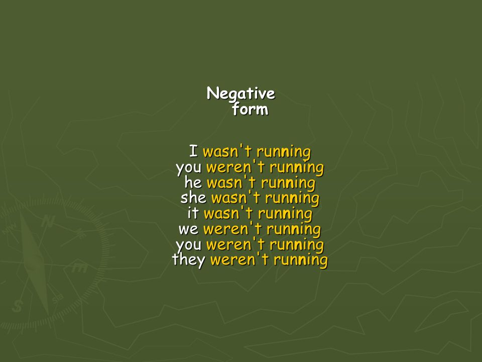 Negative form I wasn t running you weren t running he wasn t running she wasn t running it wasn t running we weren t running you weren t running they weren t running