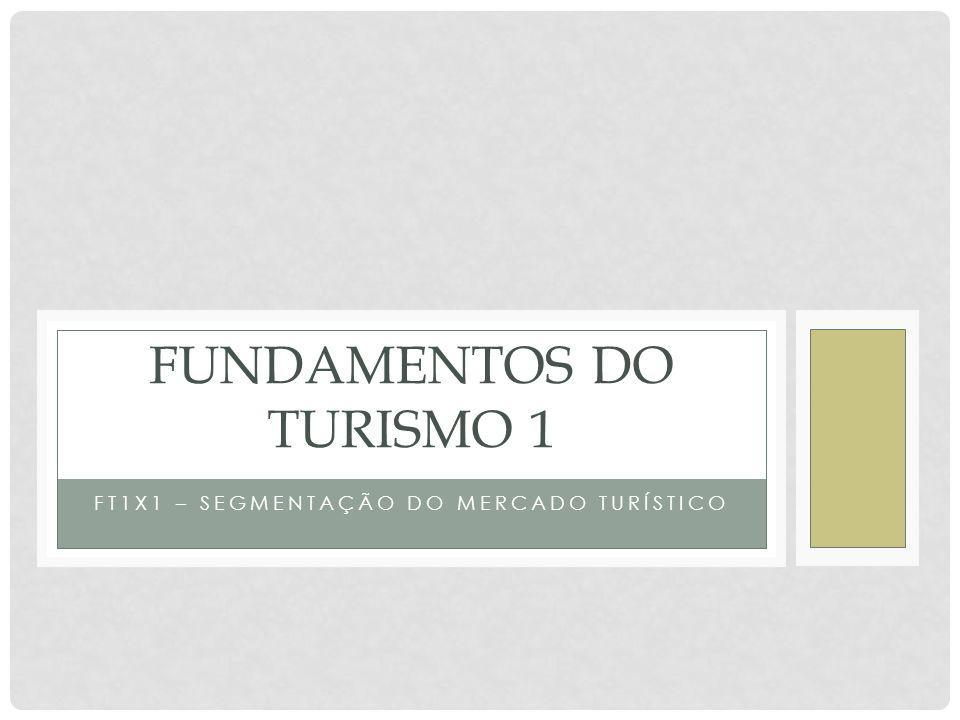 FT1X1 – SEGMENTAÇÃO DO MERCADO TURÍSTICO FUNDAMENTOS DO TURISMO 1