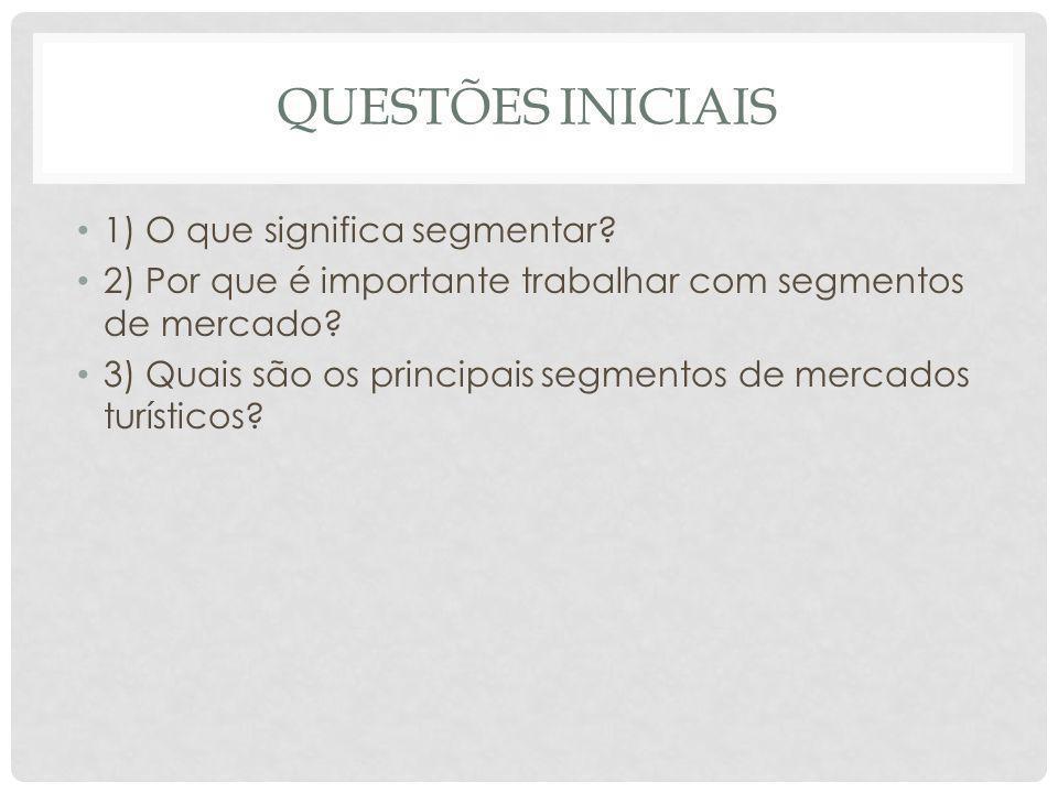 QUESTÕES INICIAIS 1) O que significa segmentar? 2) Por que é importante trabalhar com segmentos de mercado? 3) Quais são os principais segmentos de me