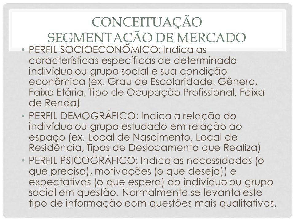CONCEITUAÇÃO SEGMENTAÇÃO DE MERCADO PERFIL SOCIOECONÔMICO: Indica as características específicas de determinado indivíduo ou grupo social e sua condiç