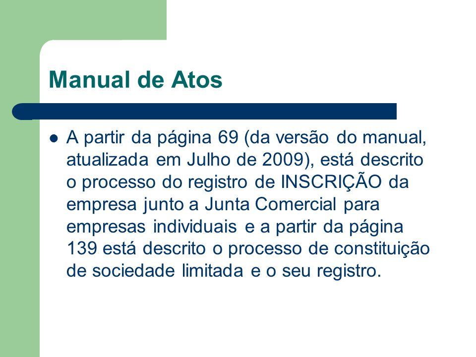 Manual de Atos A partir da página 69 (da versão do manual, atualizada em Julho de 2009), está descrito o processo do registro de INSCRIÇÃO da empresa junto a Junta Comercial para empresas individuais e a partir da página 139 está descrito o processo de constituição de sociedade limitada e o seu registro.