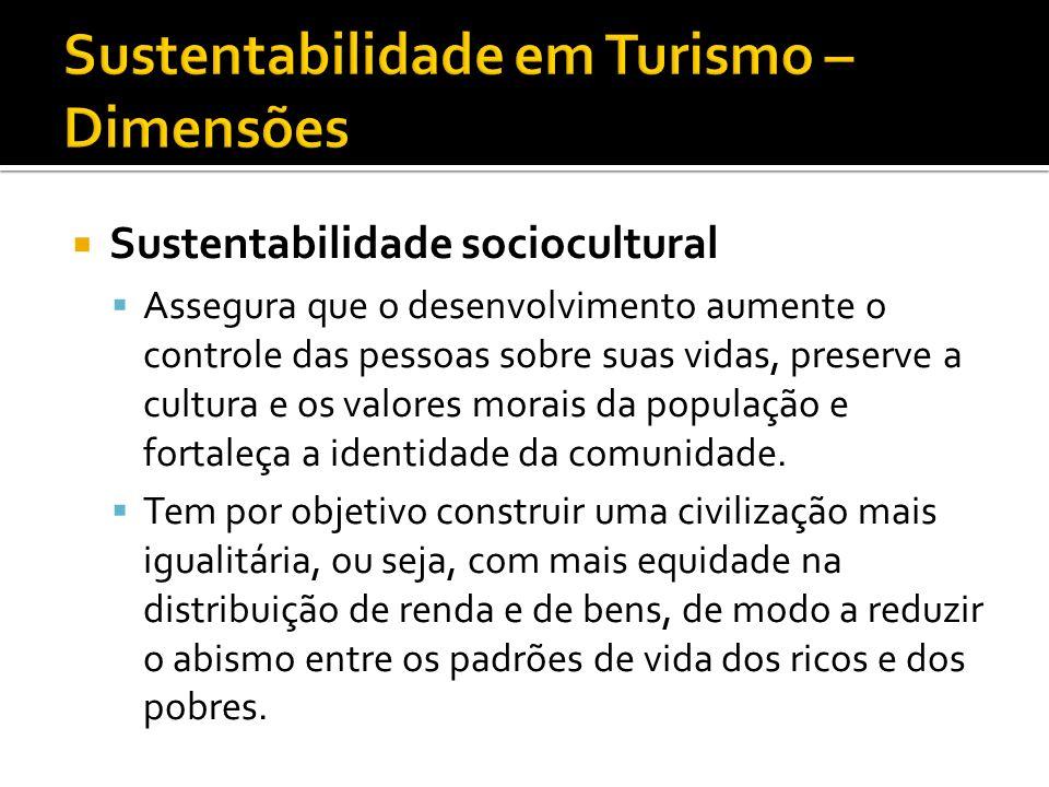 Sustentabilidade sociocultural Assegura que o desenvolvimento aumente o controle das pessoas sobre suas vidas, preserve a cultura e os valores morais