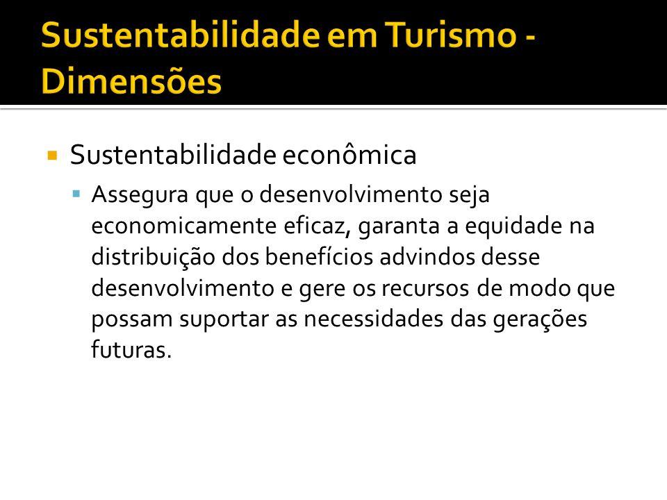 Sustentabilidade econômica Assegura que o desenvolvimento seja economicamente eficaz, garanta a equidade na distribuição dos benefícios advindos desse