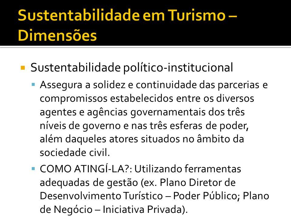 Sustentabilidade político-institucional Assegura a solidez e continuidade das parcerias e compromissos estabelecidos entre os diversos agentes e agênc