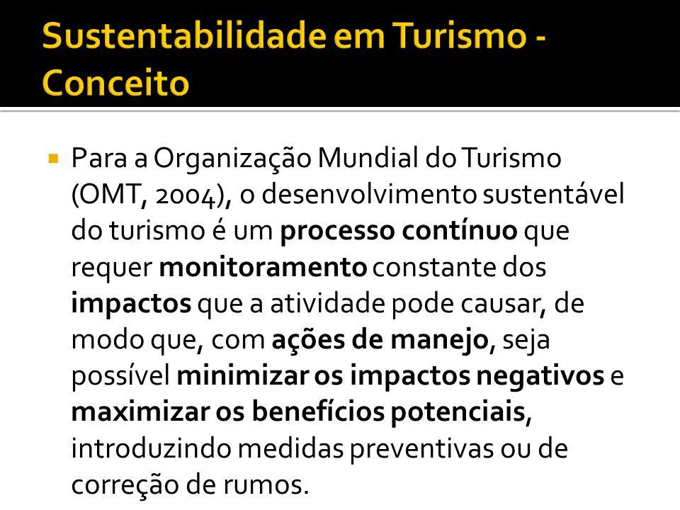 Para a Organização Mundial do Turismo (OMT, 2004), o desenvolvimento sustentável do turismo é um processo contínuo que requer monitoramento constante