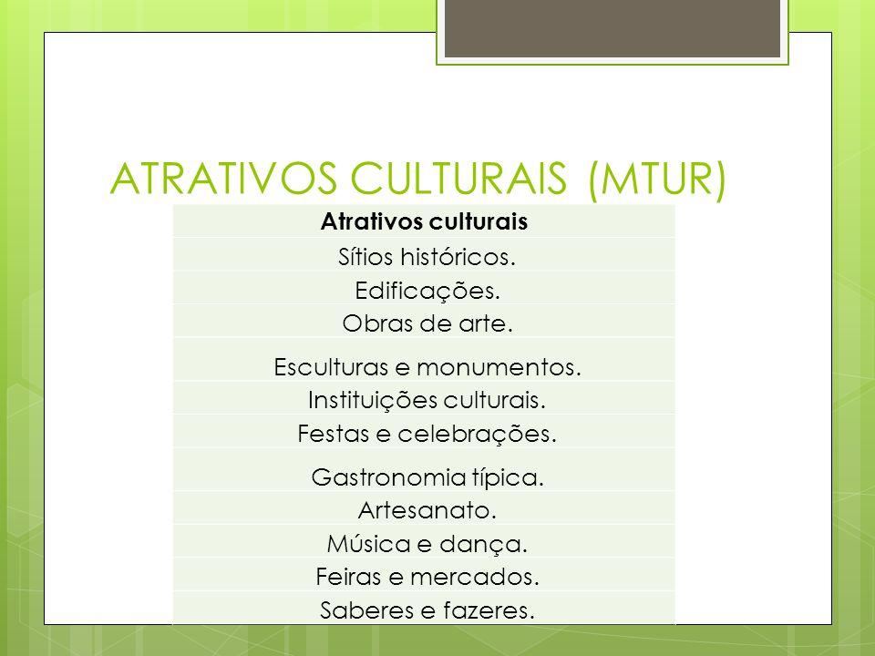 ATRATIVOS CULTURAIS (MTUR) Atrativos culturais Sítios históricos. Edificações. Obras de arte. Esculturas e monumentos. Instituições culturais. Festas