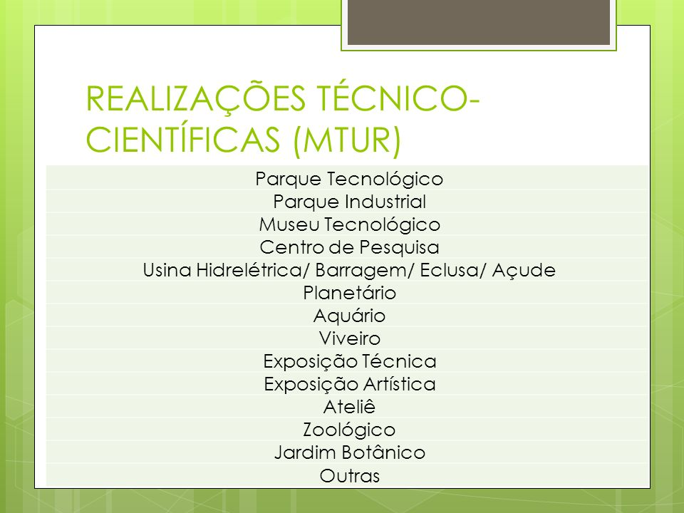REALIZAÇÕES TÉCNICO- CIENTÍFICAS (MTUR) Parque Tecnológico Parque Industrial Museu Tecnológico Centro de Pesquisa Usina Hidrelétrica/ Barragem/ Eclusa