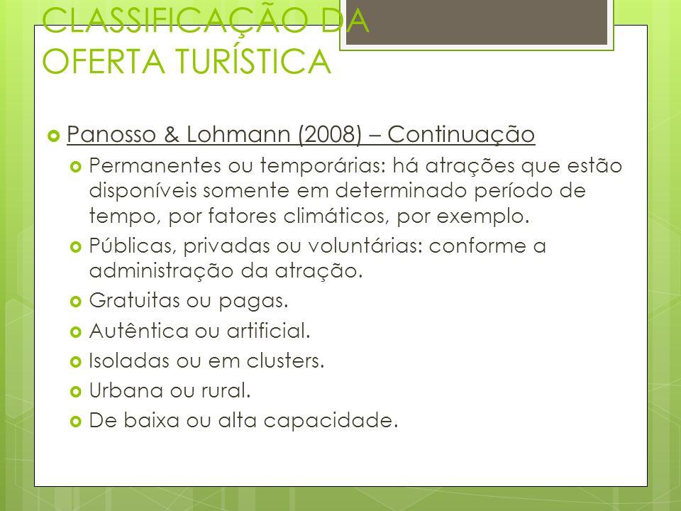 CLASSIFICAÇÃO DA OFERTA TURÍSTICA Panosso & Lohmann (2008) – Continuação Permanentes ou temporárias: há atrações que estão disponíveis somente em dete