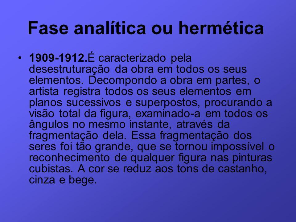 Fase analítica ou hermética 1909-1912.É caracterizado pela desestruturação da obra em todos os seus elementos. Decompondo a obra em partes, o artista