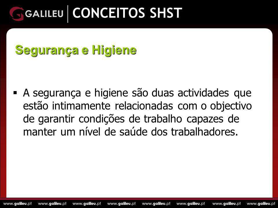 www. galileu.pt www. galileu.pt www. galileu.pt www. galileu.pt CONCEITOS SHST A segurança e higiene são duas actividades que estão intimamente relaci