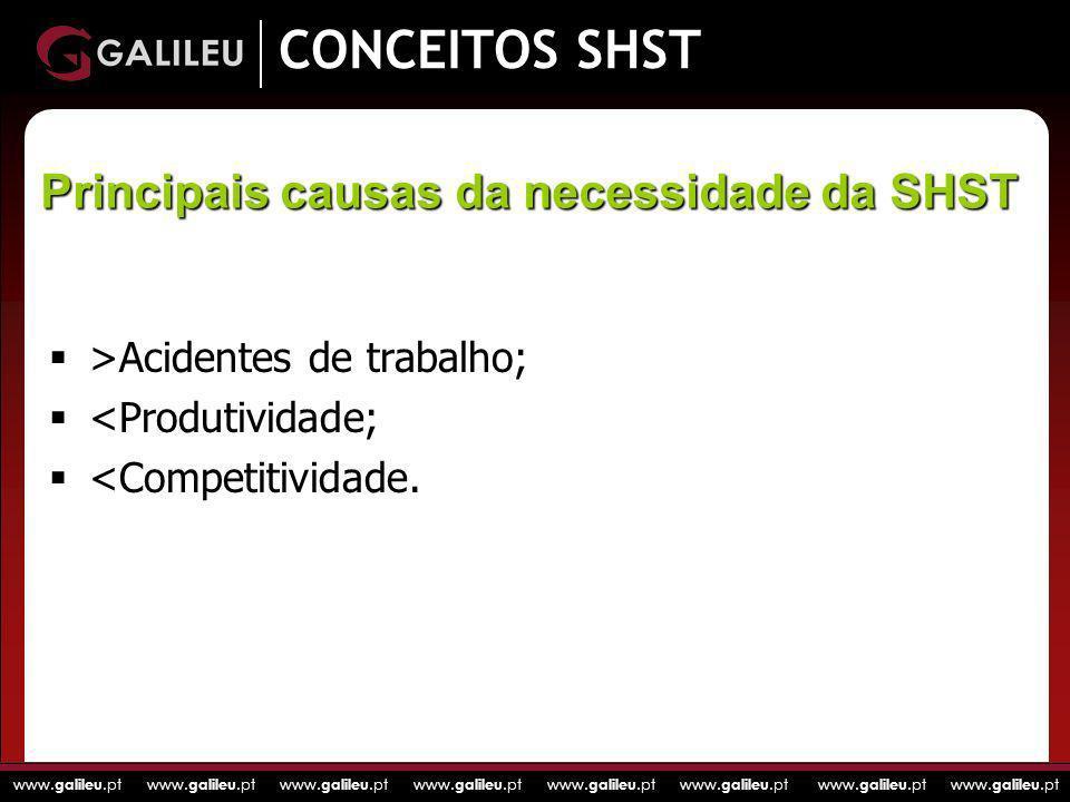 www. galileu.pt www. galileu.pt www. galileu.pt www. galileu.pt CONCEITOS SHST >Acidentes de trabalho; <Produtividade; <Competitividade. Principais ca
